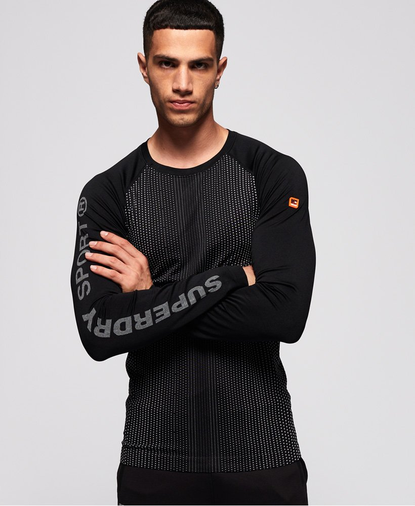 Mens Superdry Sports Athletic T Shirt Black