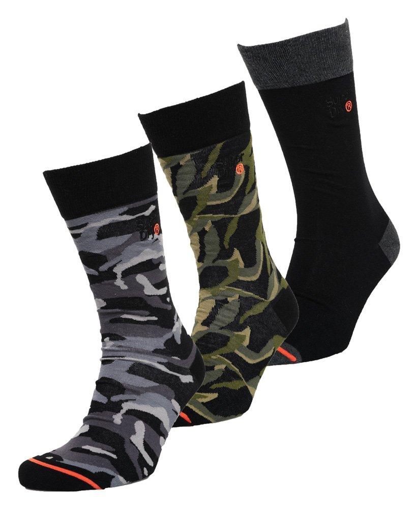 brand new 26d7c 25156 Mens - City Sock Triple Pack in Black Camo | Superdry