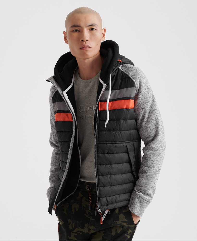 Storm Chest Stripe Hybrid Zip Hoodie by Superdry