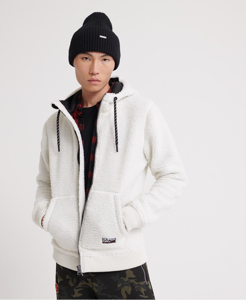 da439a5fd2 Mens - Core Sherpa Zip Hoodie in Winter Ecru | Superdry