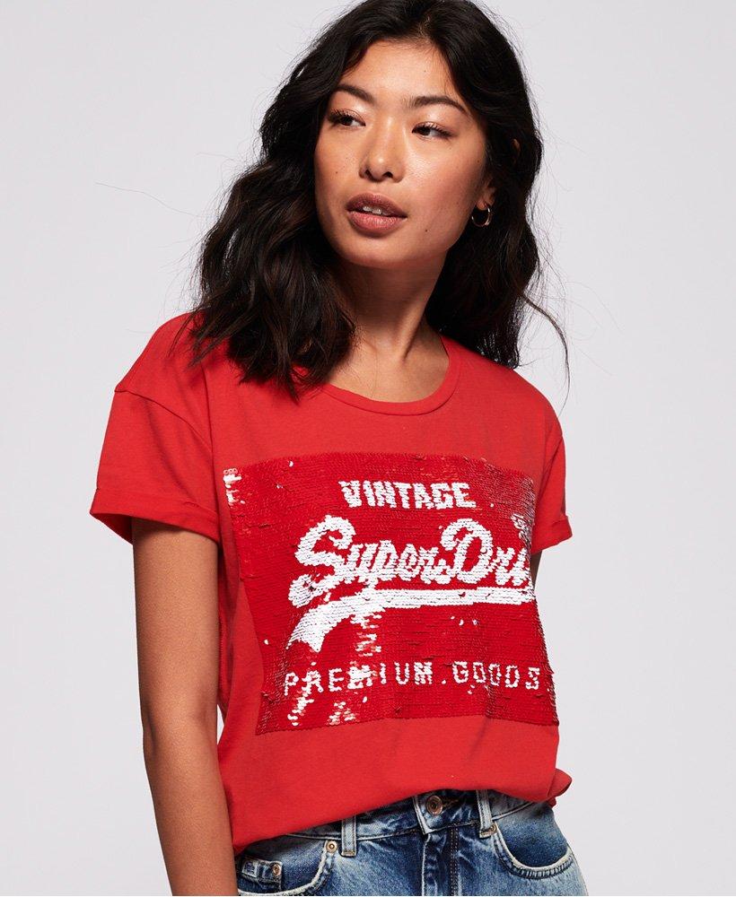 Superdry Womens Premium Sequin Slim Boyfriend T-Shirt