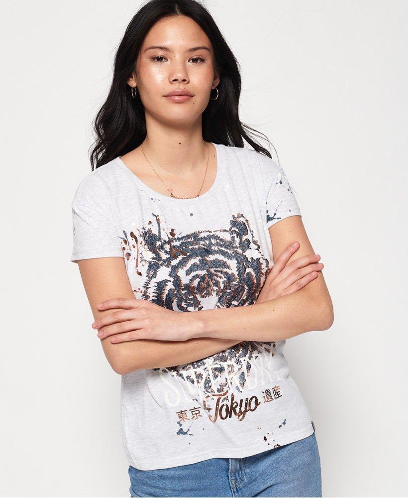 Superdry T shirt coupe boyfriend slim Tiger Splatter T