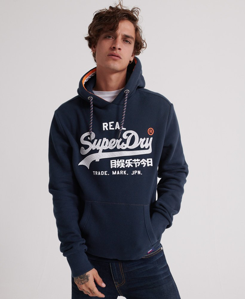 Sweat à capuche Vintage Logo logo grand sur Superdry cordon