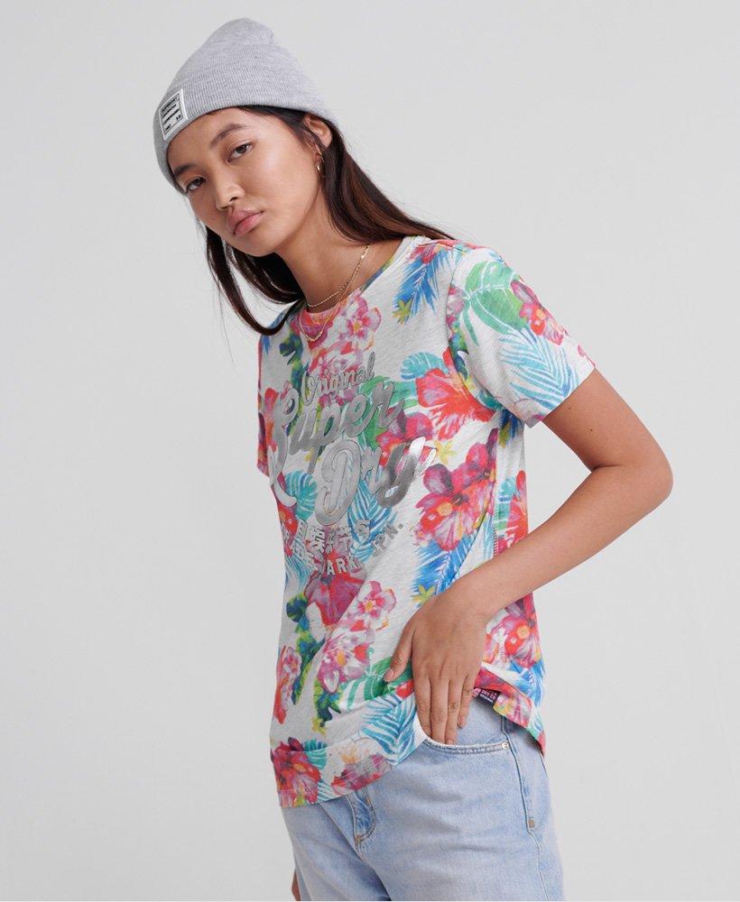 Superdry T shirt Original Hibiscus T shirts pour Femme