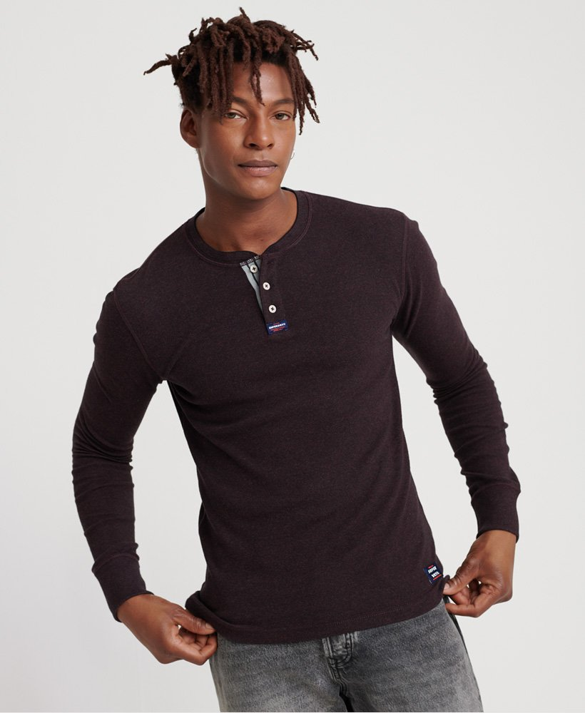 Superdry Heritage Long Sleeve Henley Top  thumbnail 1
