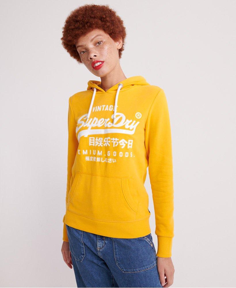 Superdry Womens Premium Goods Logo Hoodie Sweatshirt Black Ship internationally