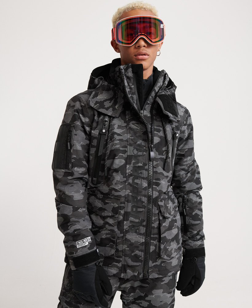 Mens Ultimate Snow Rescue Jacket In Black Dot Camo Superdry