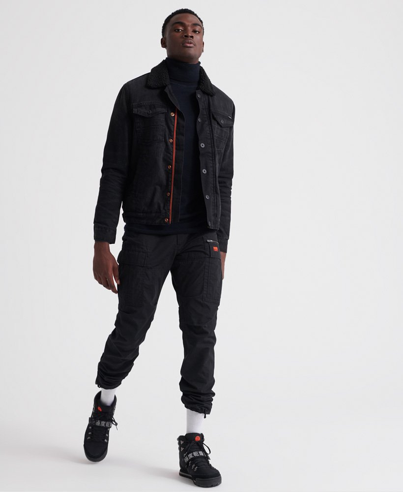 Homme Superdry Hacienda Sherpa Veste en jean Noir