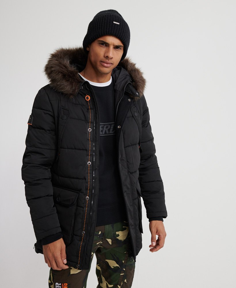 Mens - Chinook Parka Jacket in Jet Black | Superdry