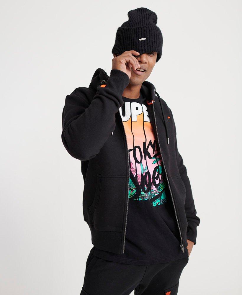 Mens Orange Label Hoodie in Jet Black