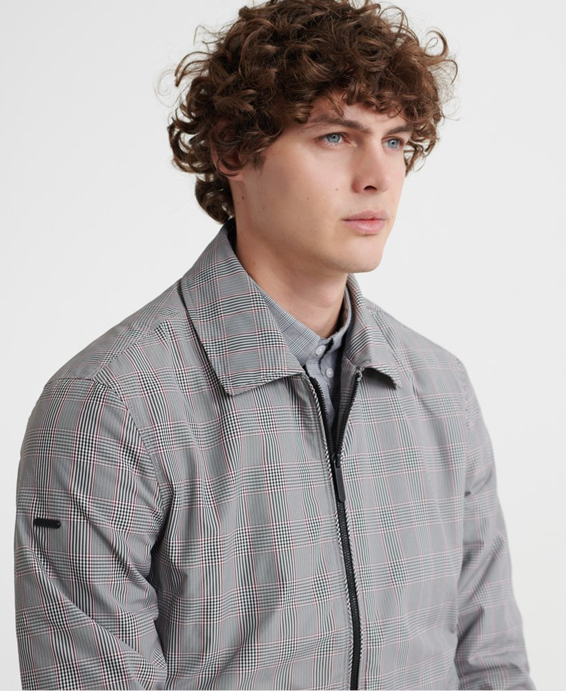 Mens Edit Collared Harrington Jacket in Grey Check | Superdry