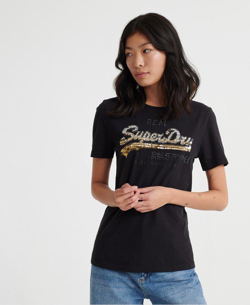 Superdry Vintage Logo T skjorte med paljetter i ombréstil