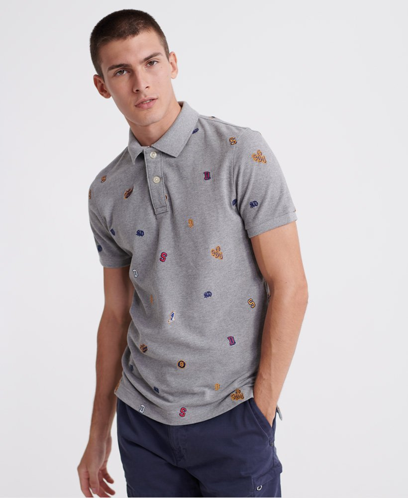 Superdry Classic All Over Embroidery Pique Polo Shirt thumbnail 1
