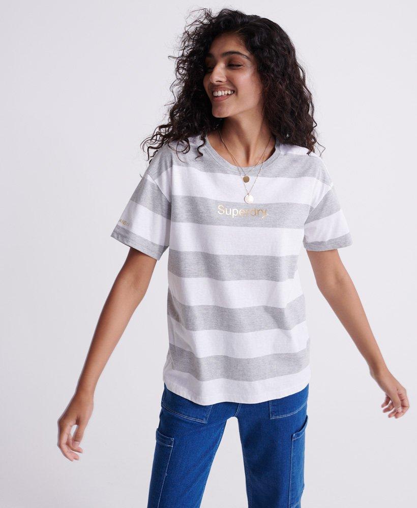 Superdry Damen Portland T-Shirt Mit Streifen Aus Bio-Baumwolle