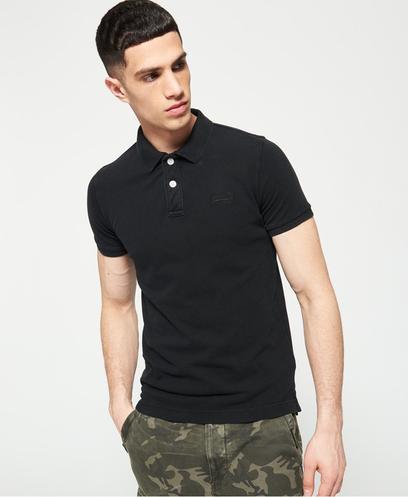Superdry Vintage Destroyed Pique Polo Shirt thumbnail 1
