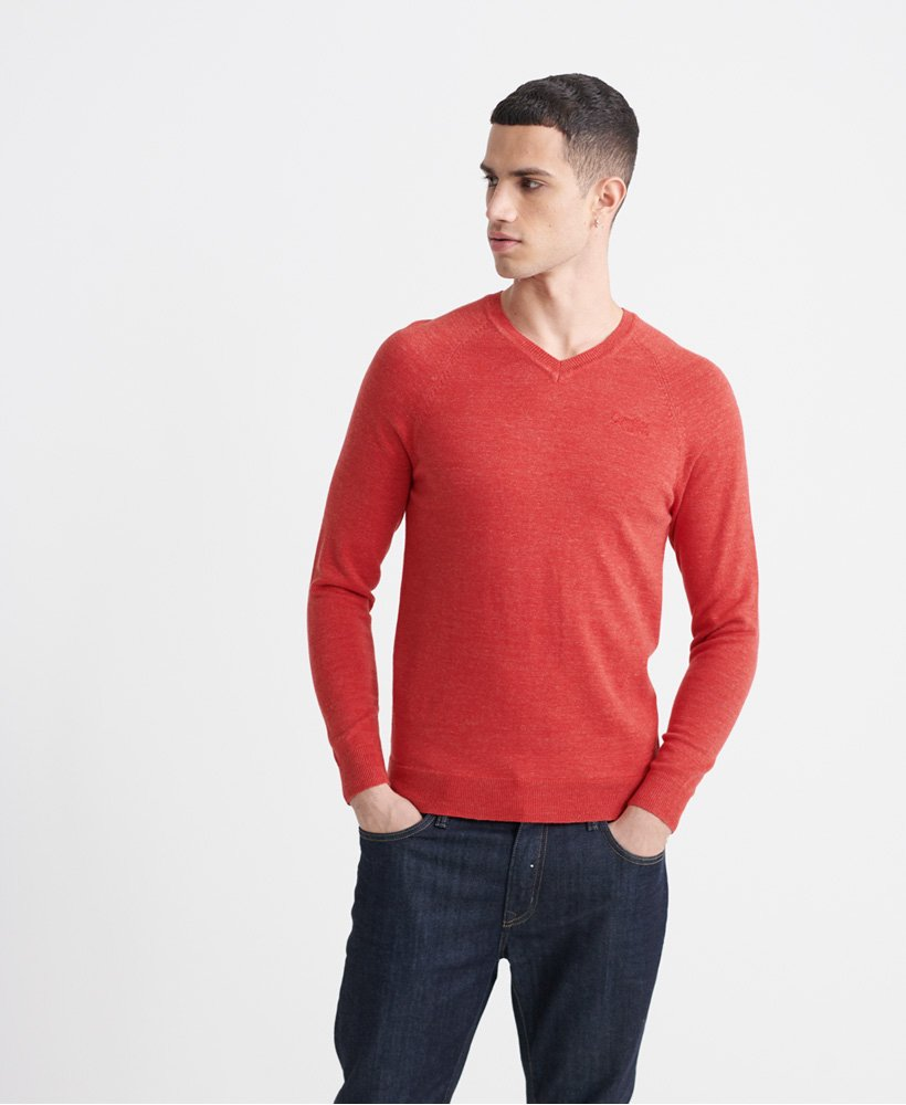 Superdry Pull en coton à col en V Orange Label