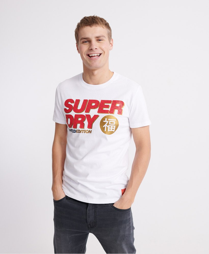 Superdry Men/'s State Rebel Graphic Print Logo Optic White Short Sleeve T-Shirt