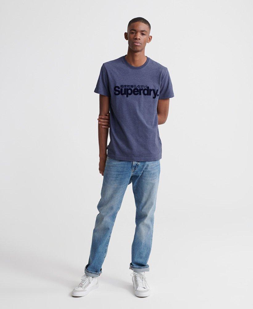 Superdry Core T skjorte med logo i imitert semsket skinn