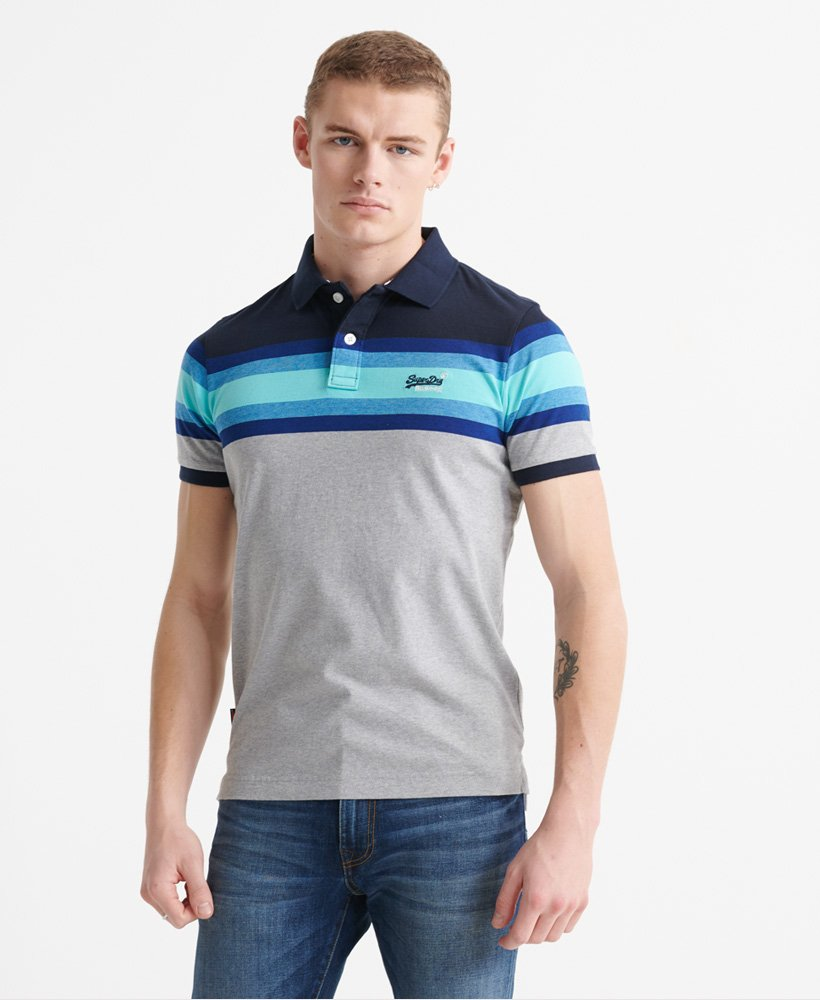 Superdry Organic Cotton Malibu Stripe Polo Shirt  thumbnail 1