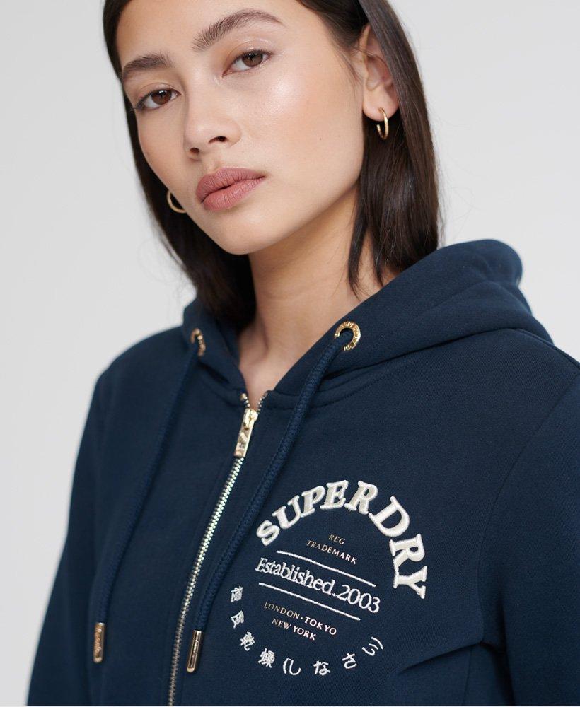 Superdry Womens Applique Serif Ziphood Hoodie