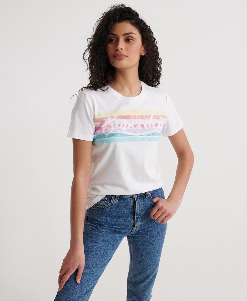 Superdry Damen T-Shirt Mit Regenbogen-Motiv