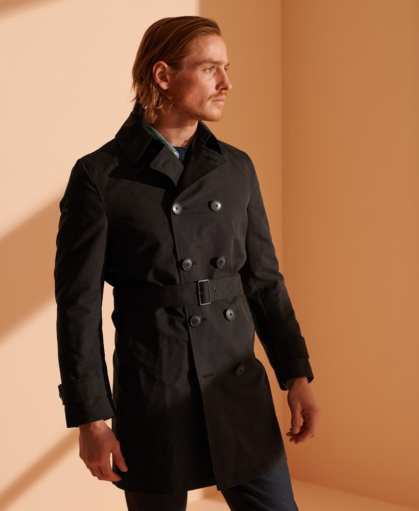 Mens Iconic Trench Coat In Black Superdry