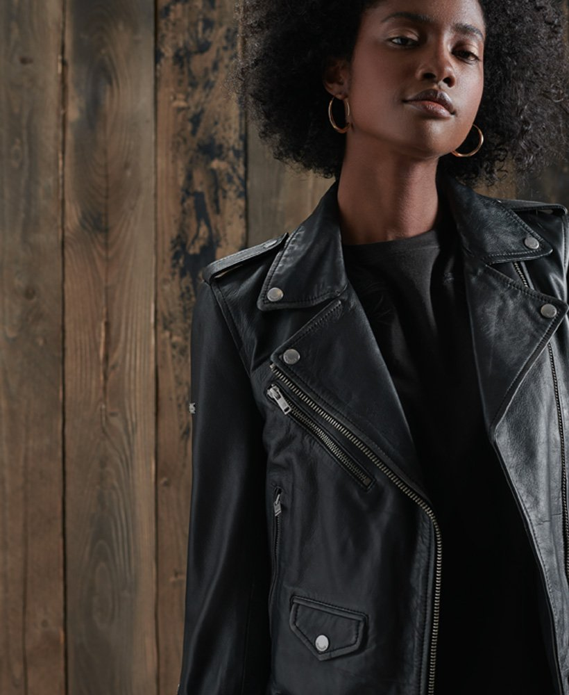 Superdry Rylee Leather Biker Jacket thumbnail 1