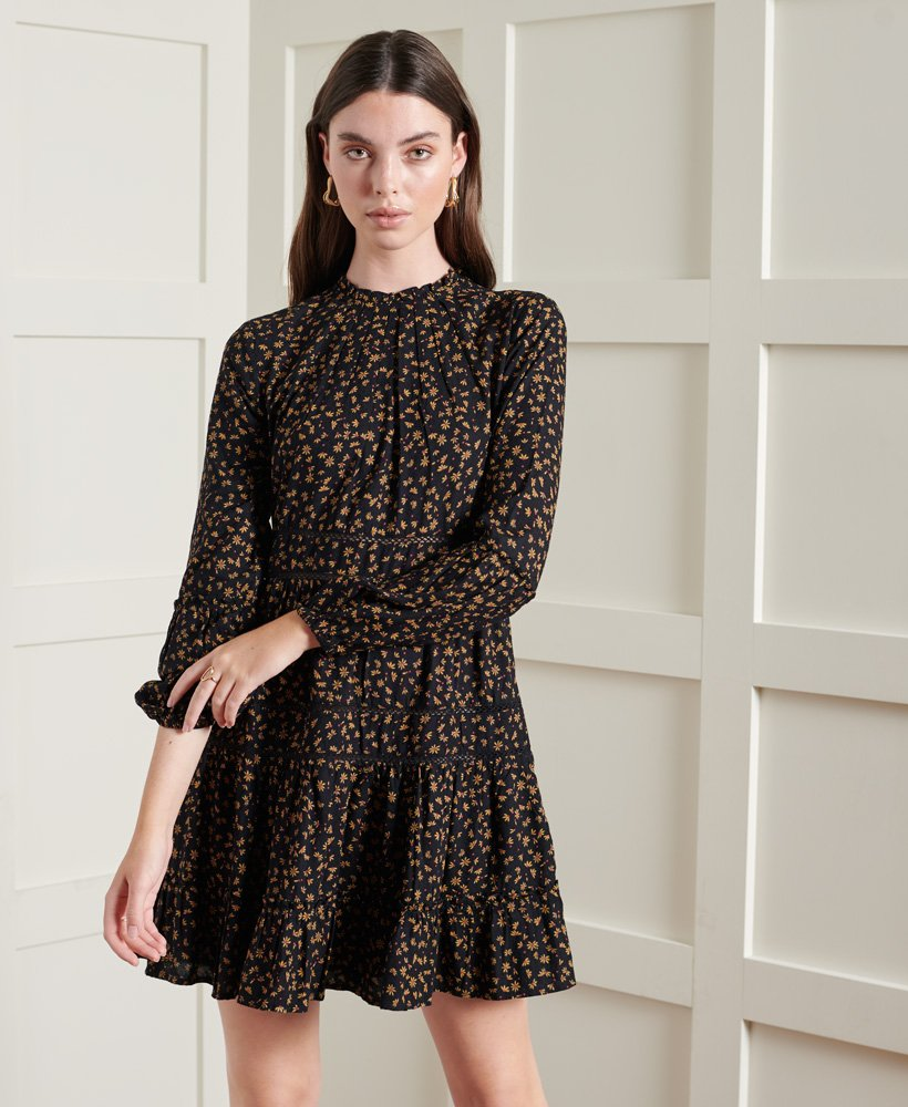 Womens - Richelle Long Sleeve Dress in Black Ditsy  Superdry