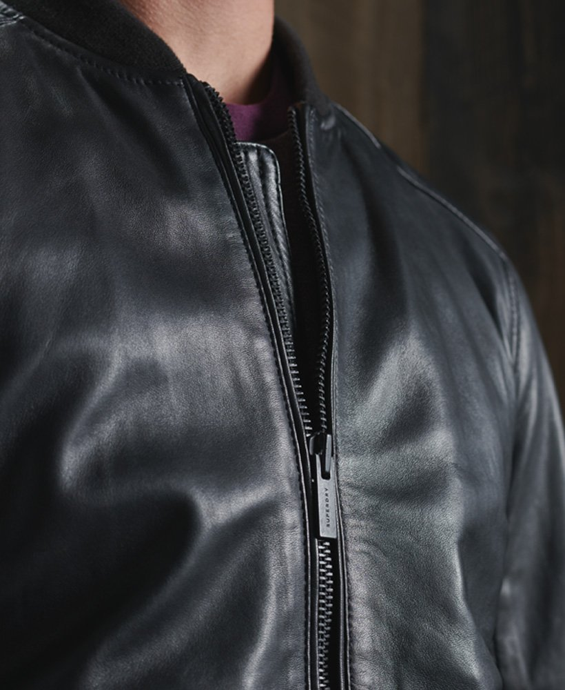 Superdry Light Leather Bomber Giacca Uomo