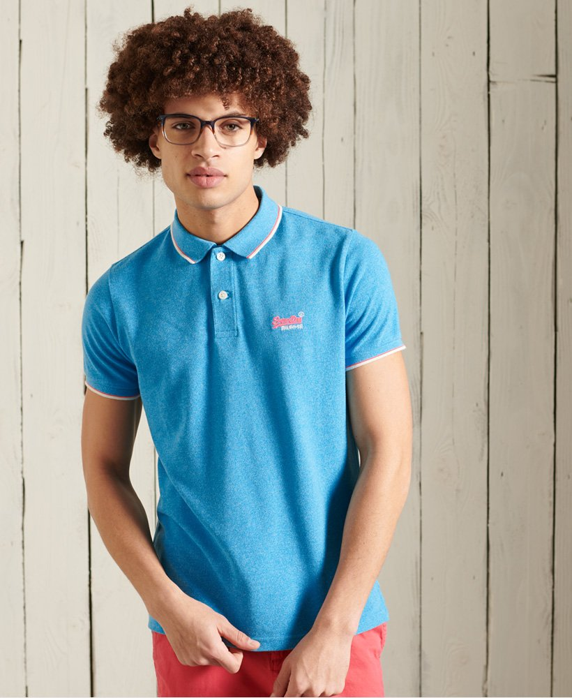 SUPERDRY CLASSIC POOLSIDE PIQUE POLO SHIRTS MEN´S CLOTHING BLUE