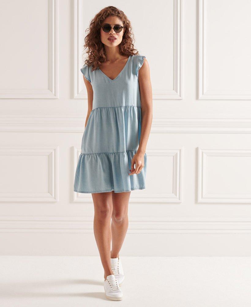 W8010108A BNWT Indigo Light Superdry Tinsley Tiered Dress 0731