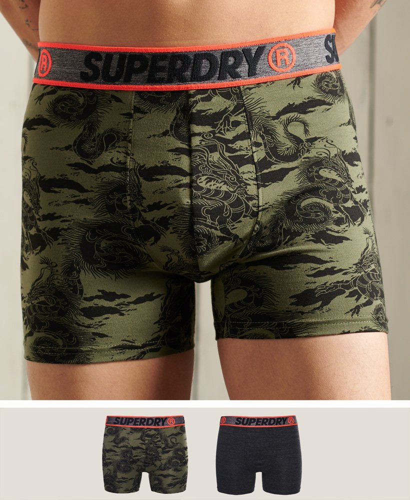 Superdry Men/'s Organic Cotton Trunk Double Pack In Black Camo