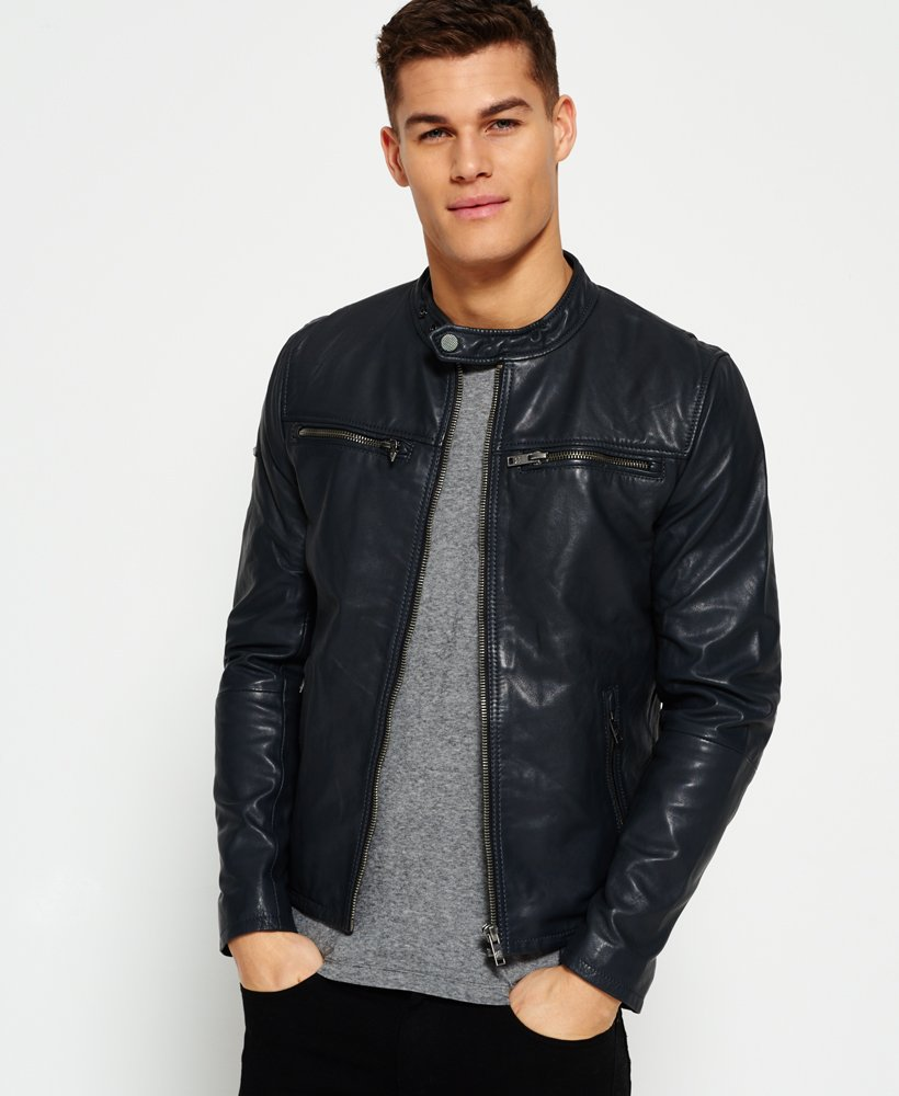 45b53ee5a Superdry Classic Real Hero Biker Leather Jacket - Men's Jackets