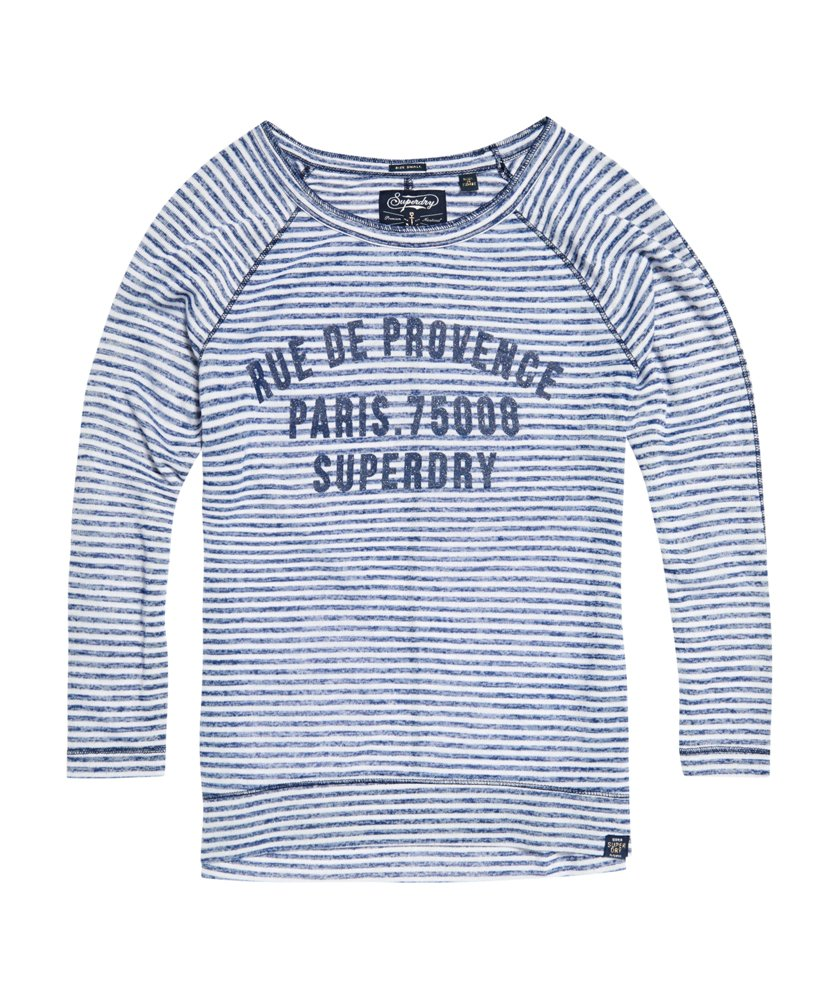 New Womens Superdry Harbour Stripe Graphic Top Mixed Navy Stripe