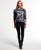 Superdry Oriental Tiger Crop Sweat Top Navy