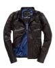 Superdry Real Hero Leather Biker Jacket Brown