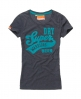 Superdry Warrior Flock T-shirt Blue