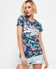 Superdry Camiseta tropical con logo Vintage Azul