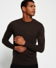 Superdry Call Sheet Merino Button Crew Neck Sweater Brown
