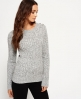 Superdry Croyde Twist Cable Crew Jumper Light Grey