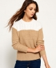 Superdry Brooklyn Colour Block Knit Jumper Cream