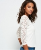 Superdry Lace Sleeve Grandad Top White