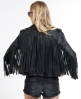 Superdry Tassel Leather Biker Jacket Black