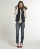 Superdry Fur Hooded Sherpa Gilet Navy