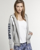 Superdry Premium Nep Zip Hoodie Light Grey