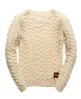 Superdry Heritage Cable Crew Cream