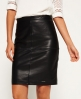 Superdry Selka Leather Pencil Skirt  Black