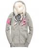Superdry Track & Field Fur Hoodie Grey