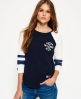 Superdry Tri League Raglan Block T-Shirt Marineblau