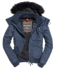 Superdry Microfibre Fur Hooded Windbomber Jacket Navy